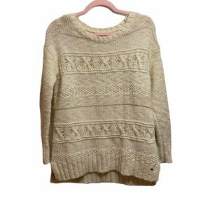 American Eagle Cream Wool Blend Pullover Sweater